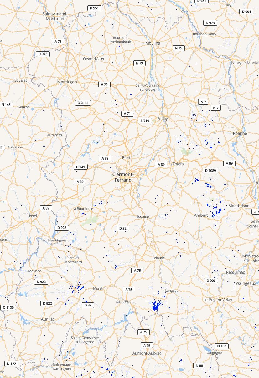 Zones blanches 2G en Auvergne