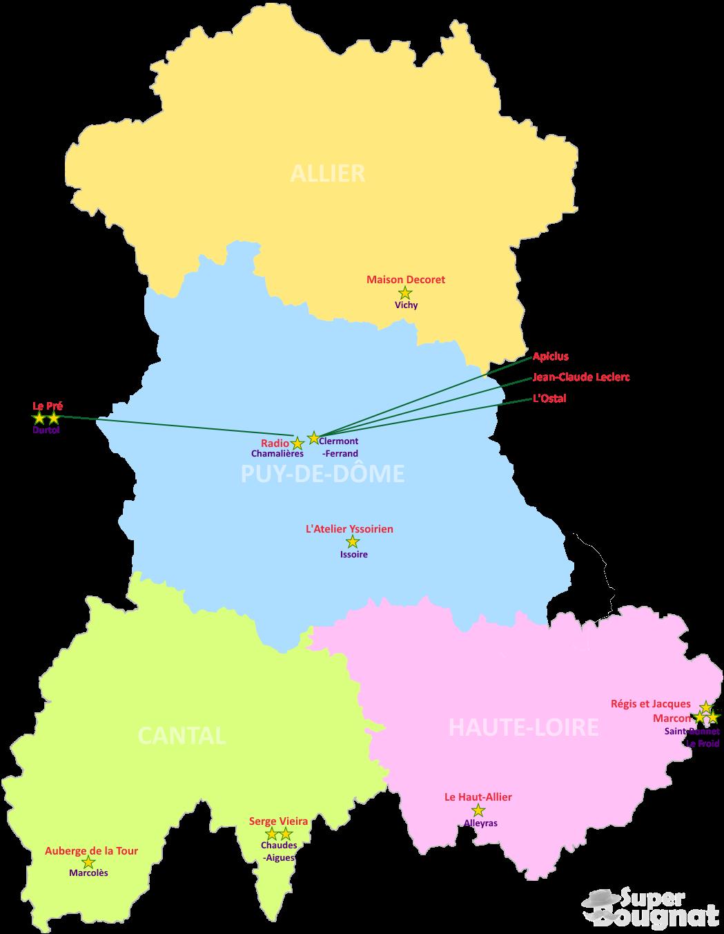 Carte des restaurants étoilés en Auvergne