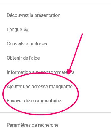 Choix menus Google Maps