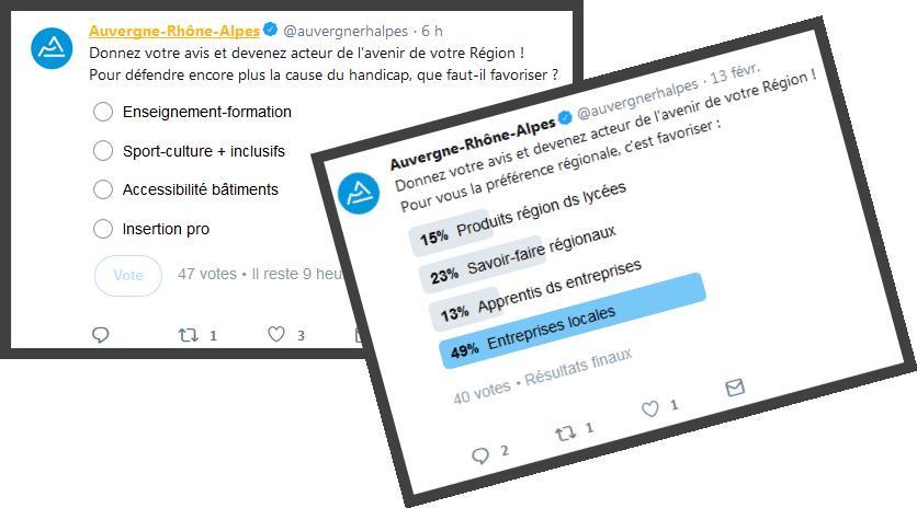 Sondages AuRa sur Twitter