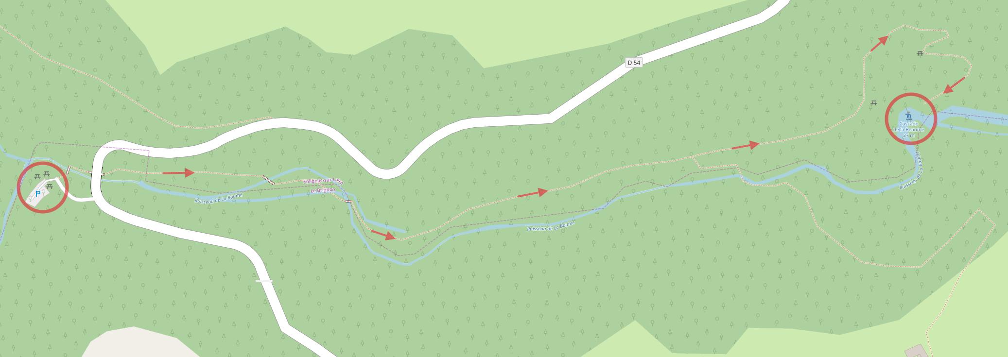 Cascade de la Beaume plan détaillé