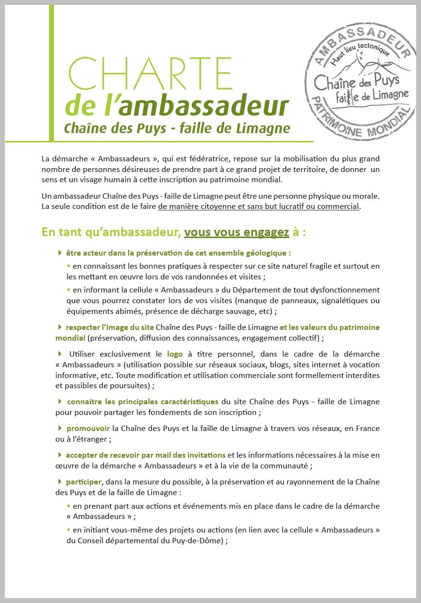 Charte de l'ambassadeur de la chaîne des Puys / faille de Limagne