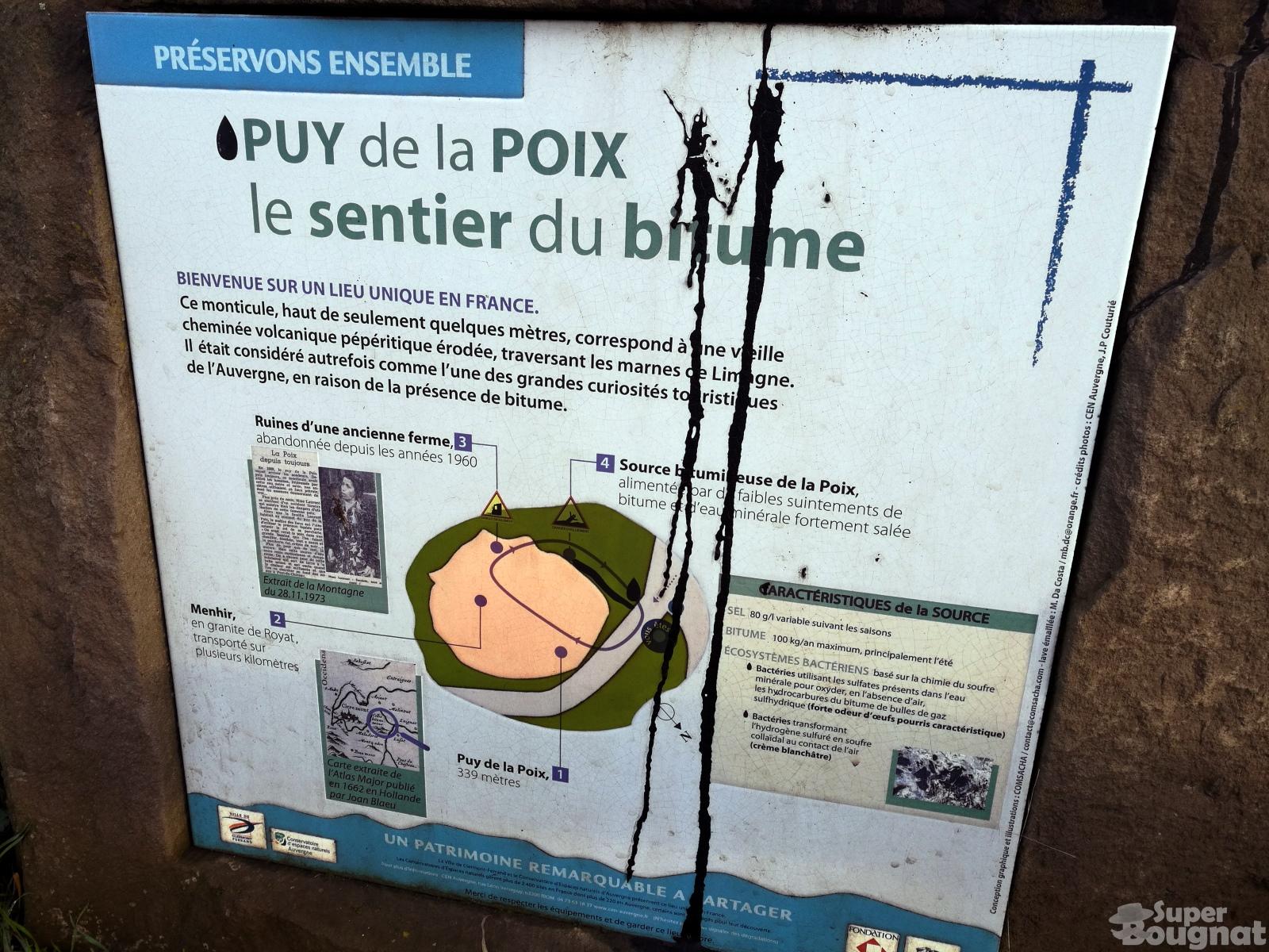 Plaque informative du Puy de la Poix
