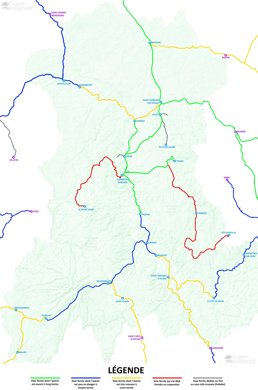 Lignes ferroviaires en Auvergne