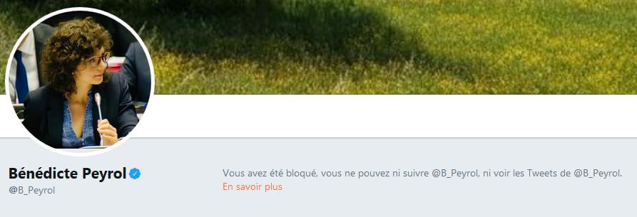 Bénédicte Peryol - Blocage Twitter