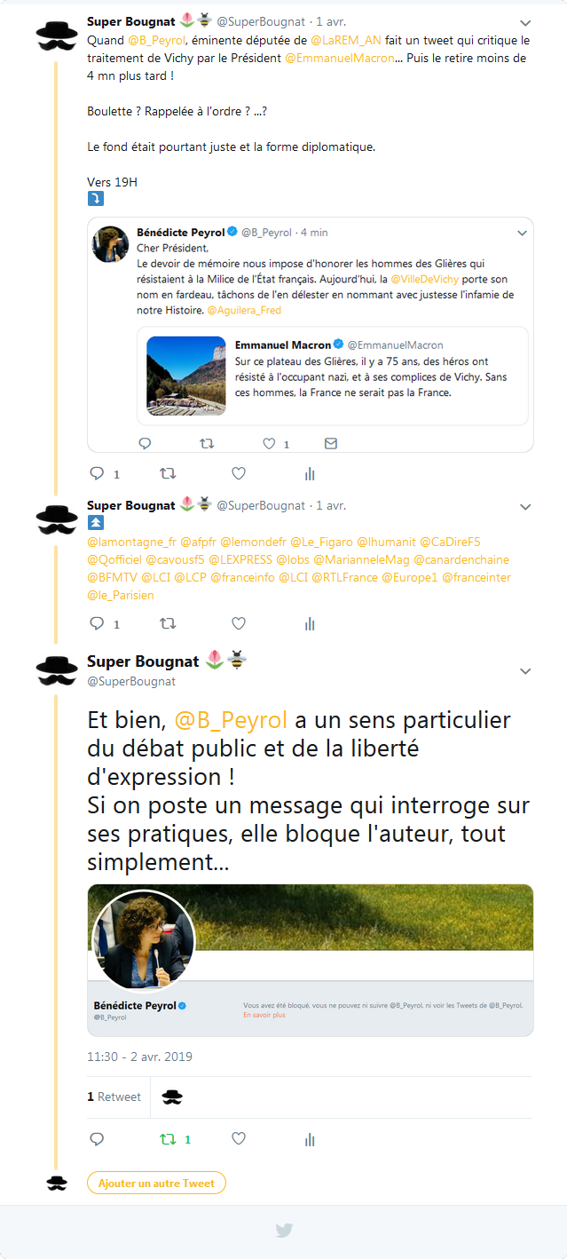 Bénédicte Peryol - Censure Twitter